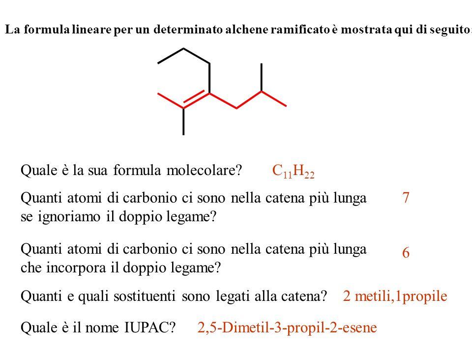 La formula lineare per un determinato alchene ramificato è mostrata qui di seguito: Quale è la sua formula molecolare? Quanti atomi di carbonio ci son
