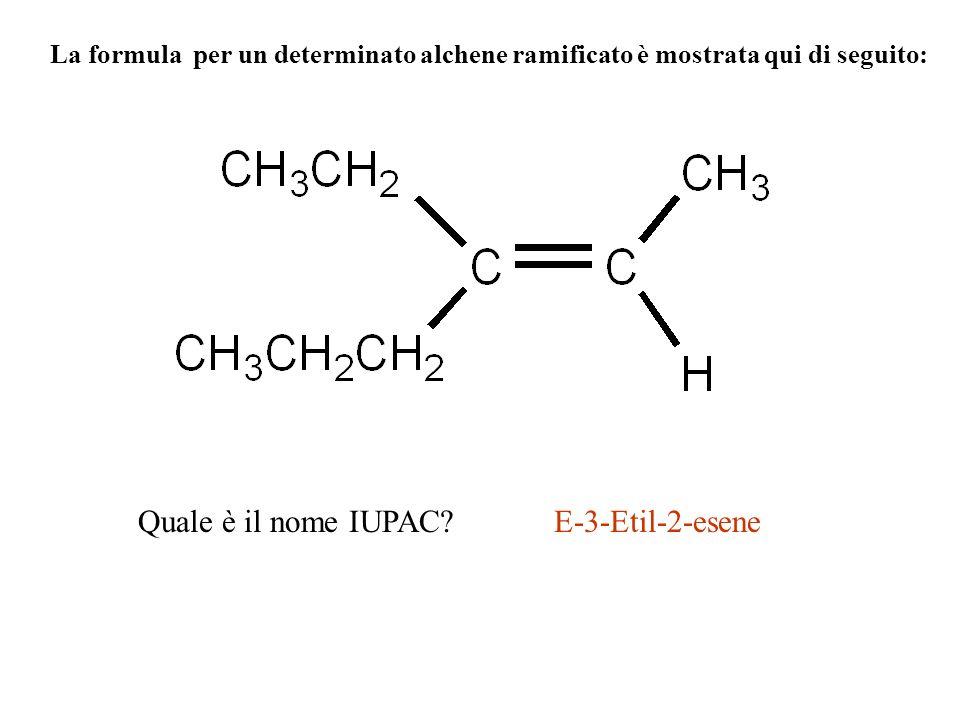La formula per un determinato alchene ramificato è mostrata qui di seguito: Quale è il nome IUPAC?E-3-Etil-2-esene