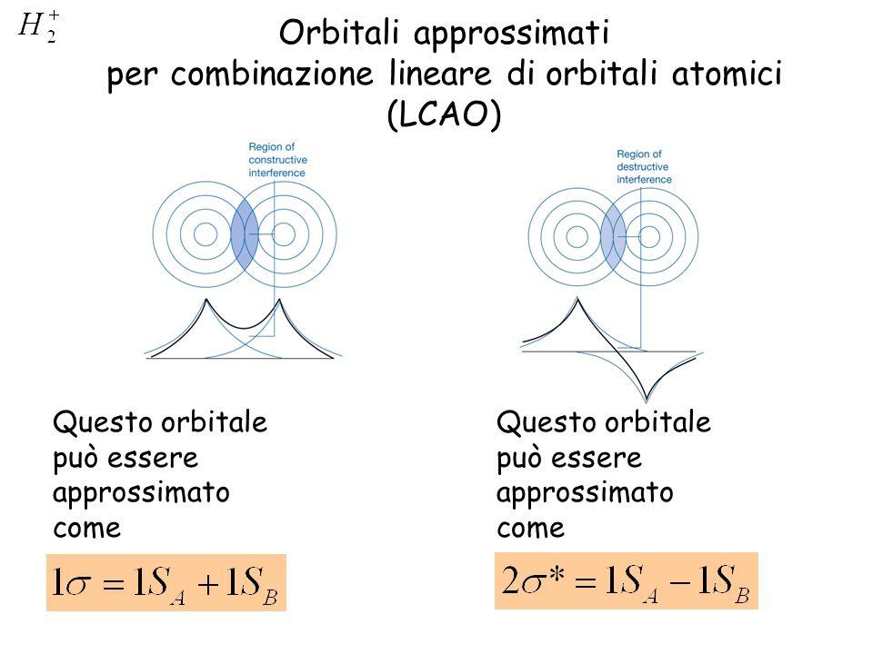 Orbitali approssimati per combinazione lineare di orbitali atomici (LCAO) Questo orbitale può essere approssimato come
