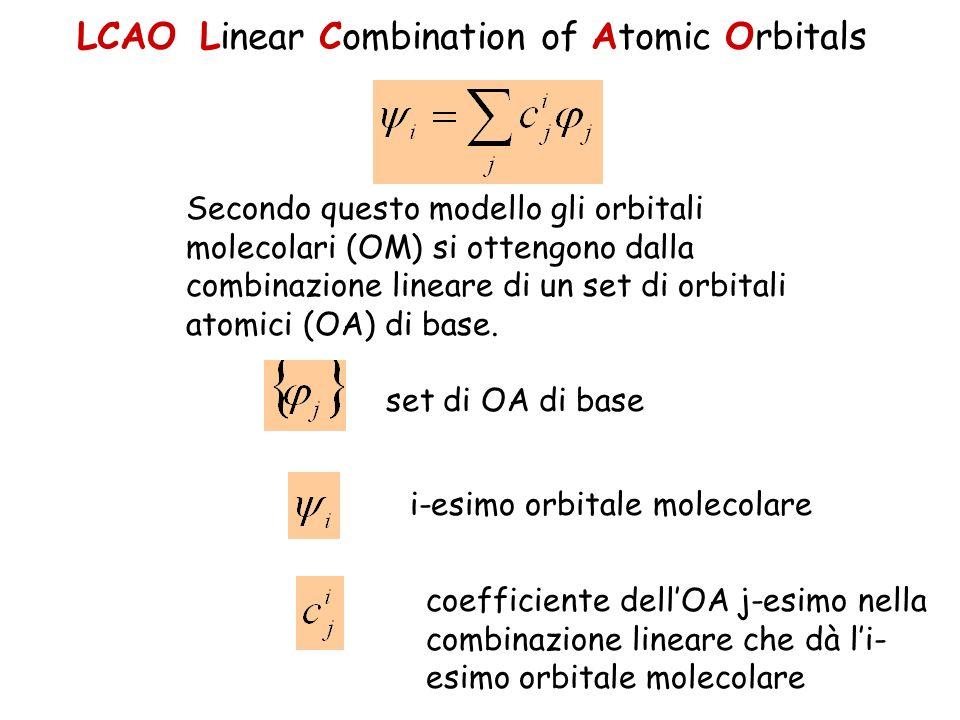LCAO Linear Combination of Atomic Orbitals Secondo questo modello gli orbitali molecolari (OM) si ottengono dalla combinazione lineare di un set di or