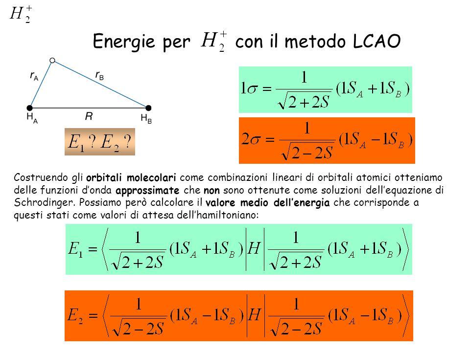 Energie per con il metodo LCAO Costruendo gli orbitali molecolari come combinazioni lineari di orbitali atomici otteniamo delle funzioni donda appross