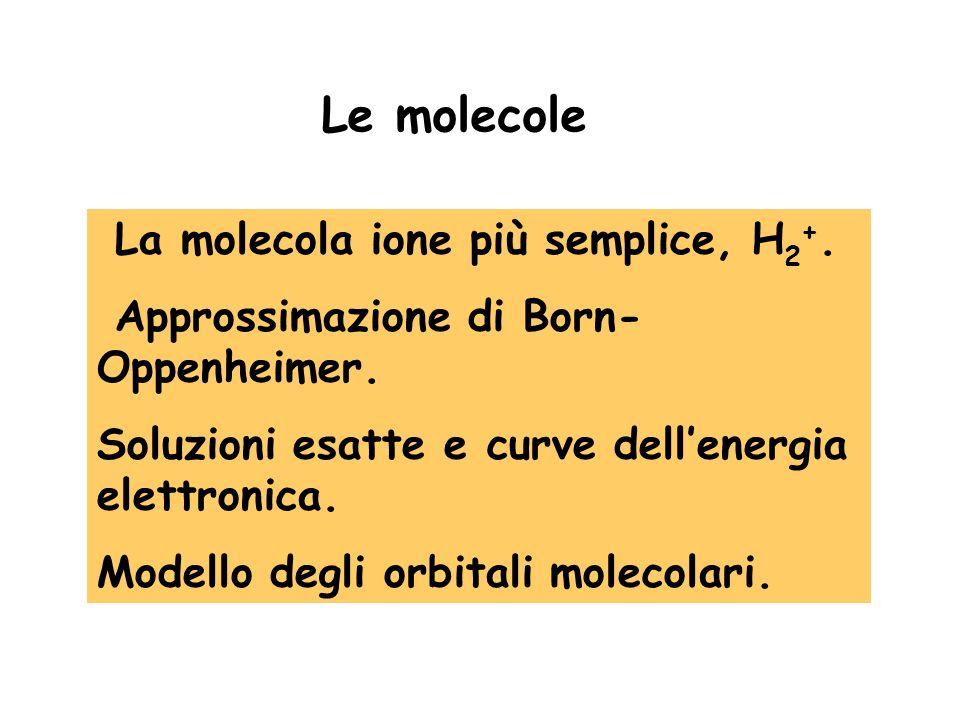La molecola ione più semplice, H 2 +. Approssimazione di Born- Oppenheimer. Soluzioni esatte e curve dellenergia elettronica. Modello degli orbitali m