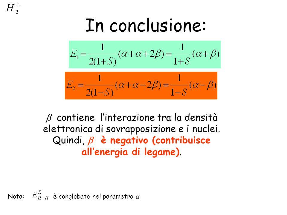 In conclusione: Nota: è conglobato nel parametro contiene linterazione tra la densità elettronica di sovrapposizione e i nuclei. Quindi, è negativo (c
