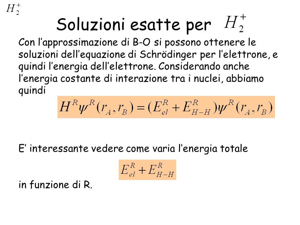 Soluzioni esatte per Con lapprossimazione di B-O si possono ottenere le soluzioni dellequazione di Schrödinger per lelettrone, e quindi lenergia delle
