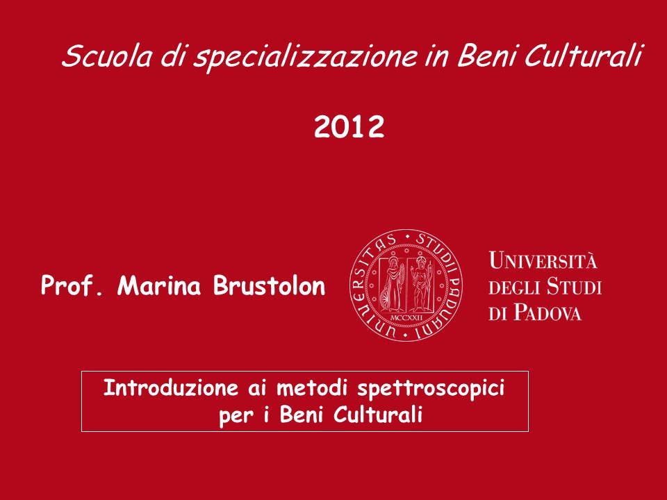 Prof. Marina Brustolon Introduzione ai metodi spettroscopici per i Beni Culturali Scuola di specializzazione in Beni Culturali 2012