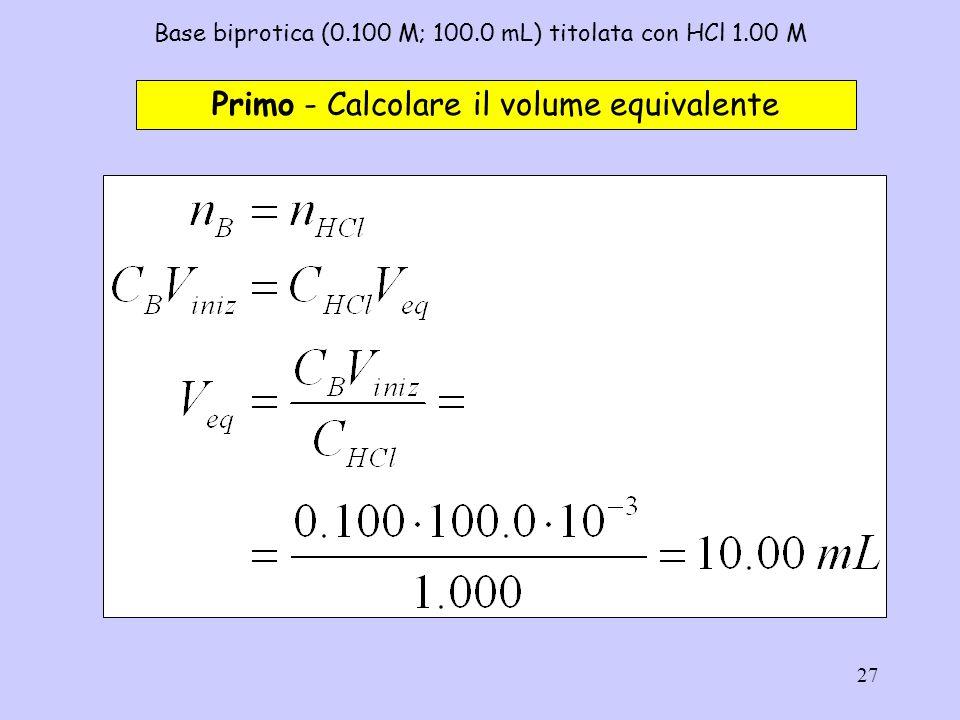 27 Base biprotica (0.100 M; 100.0 mL) titolata con HCl 1.00 M Primo - Calcolare il volume equivalente
