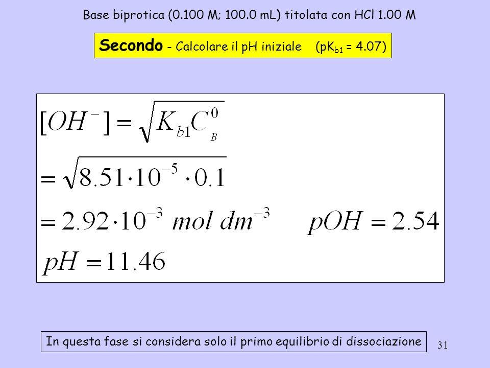 31 Base biprotica (0.100 M; 100.0 mL) titolata con HCl 1.00 M Secondo - Calcolare il pH iniziale (pK b1 = 4.07) In questa fase si considera solo il pr