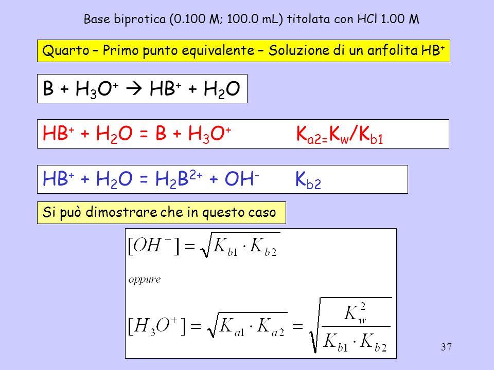 37 Base biprotica (0.100 M; 100.0 mL) titolata con HCl 1.00 M Quarto – Primo punto equivalente – Soluzione di un anfolita HB + B + H 3 O + HB + + H 2