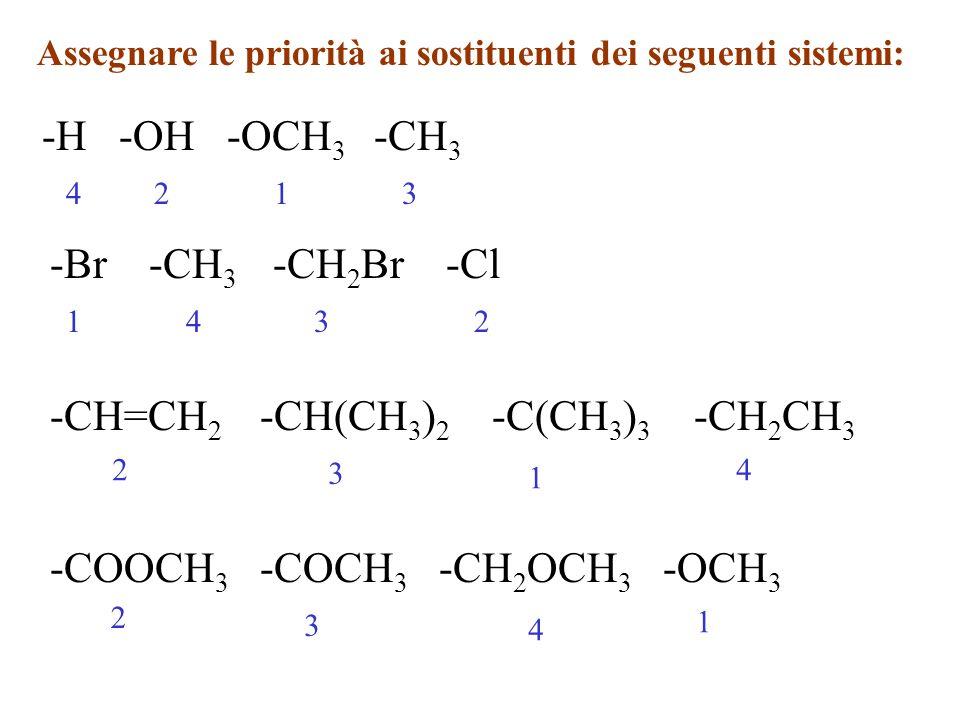Assegnare le priorità ai sostituenti dei seguenti sistemi: -H -OH -OCH 3 -CH 3 1234 -Br -CH 3 -CH 2 Br -Cl 1234 -CH=CH 2 -CH(CH 3 ) 2 -C(CH 3 ) 3 -CH