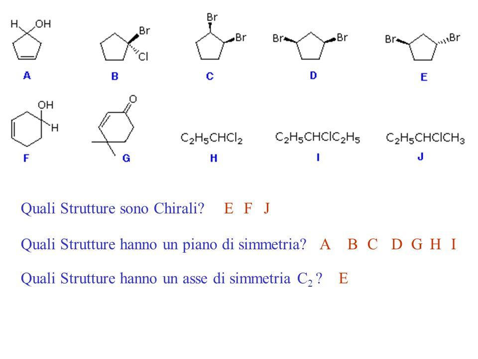 Quali Strutture sono Chirali?EFJ Quali Strutture hanno un piano di simmetria?ABCDGHI Quali Strutture hanno un asse di simmetria C 2 ?E