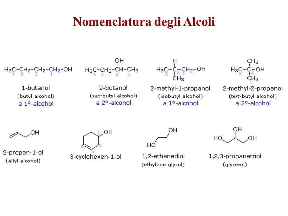Nomenclatura degli Alcoli