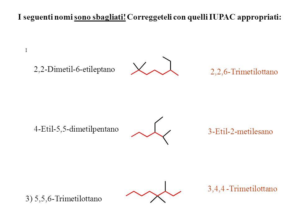I 2,2-Dimetil-6-etileptano 4-Etil-5,5-dimetilpentano 3) 5,5,6-Trimetilottano 2,2,6-Trimetilottano 3-Etil-2-metilesano 3,4,4 -Trimetilottano I seguenti