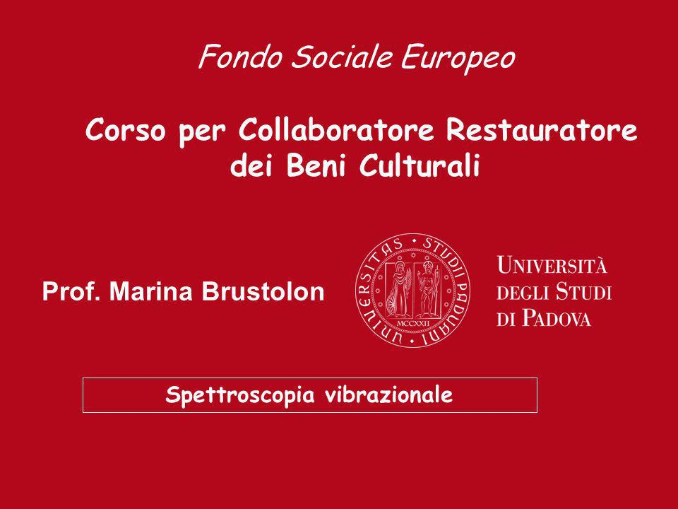 Prof. Marina Brustolon Spettroscopia vibrazionale Fondo Sociale Europeo Corso per Collaboratore Restauratore dei Beni Culturali