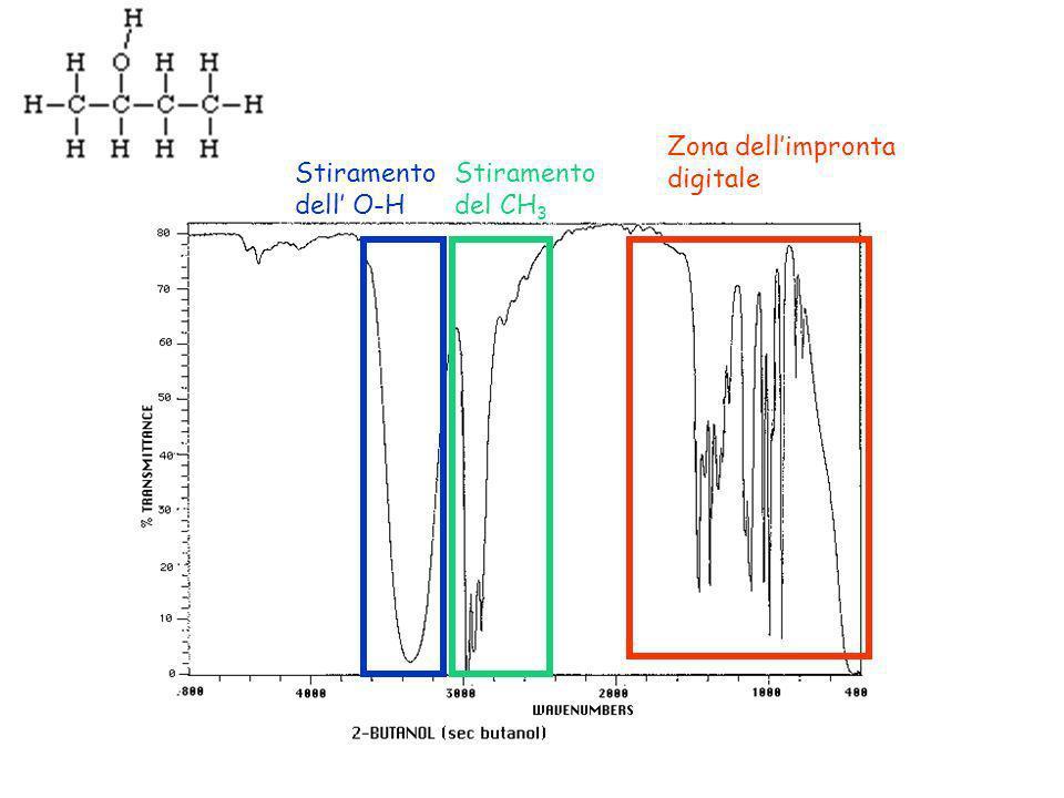 Zona dellimpronta digitale Stiramento dell O-H Stiramento del CH 3