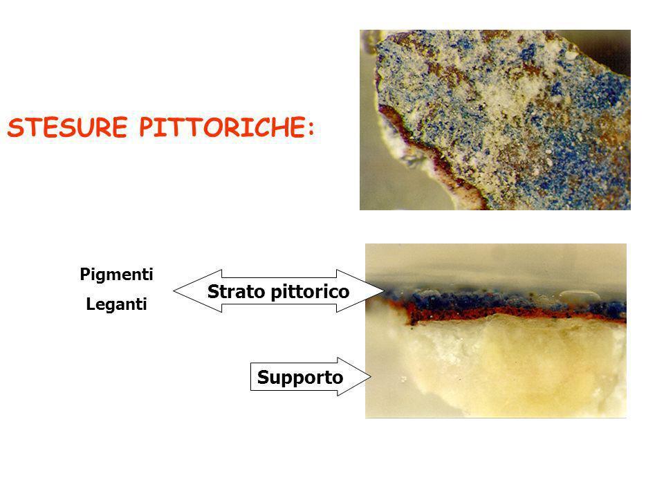 STESURE PITTORICHE: Supporto Strato pittorico Pigmenti Leganti
