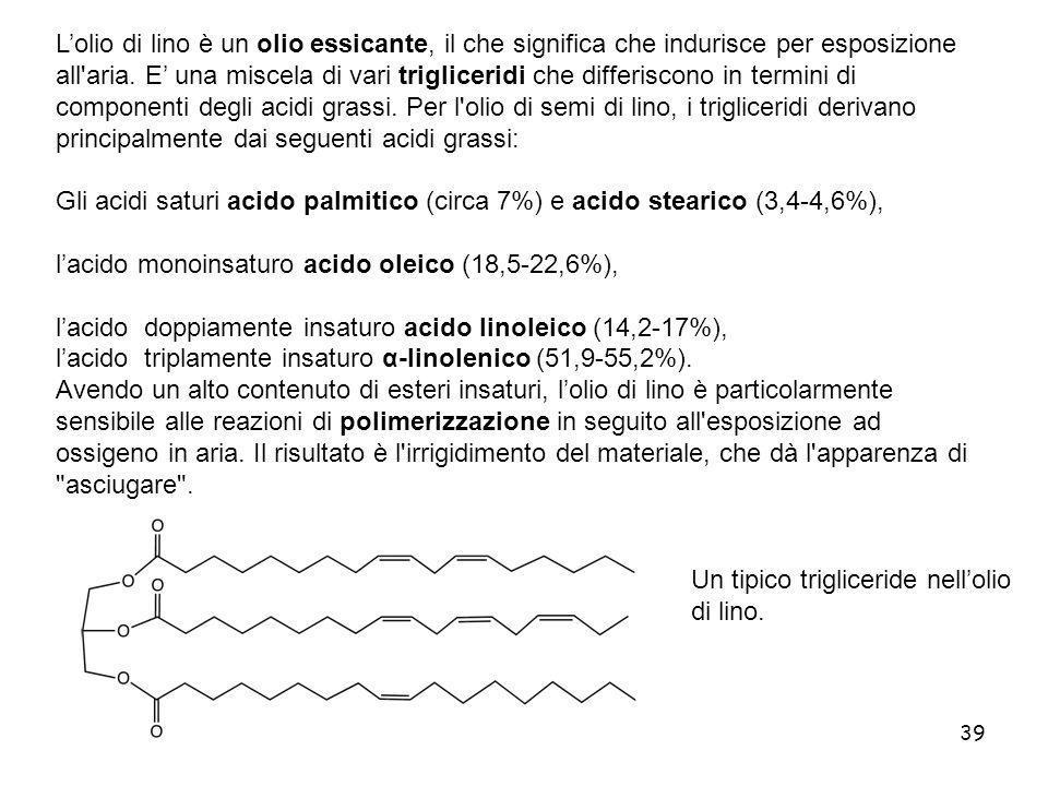 39 Lolio di lino è un olio essicante, il che significa che indurisce per esposizione all'aria. E una miscela di vari trigliceridi che differiscono in