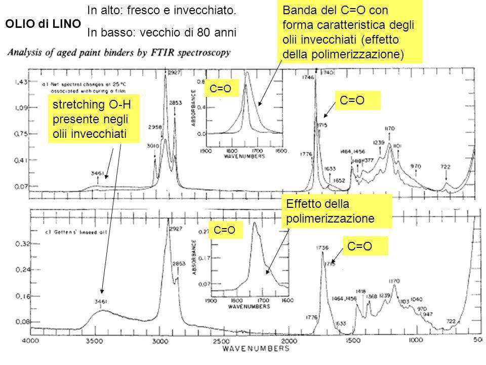 41 C=O Banda del C=O con forma caratteristica degli olii invecchiati (effetto della polimerizzazione) Effetto della polimerizzazione stretching O-H pr