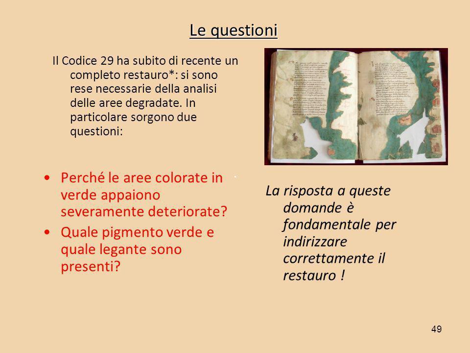 49 Le questioni Perché le aree colorate in verde appaiono severamente deteriorate? Quale pigmento verde e quale legante sono presenti? Il Codice 29 ha