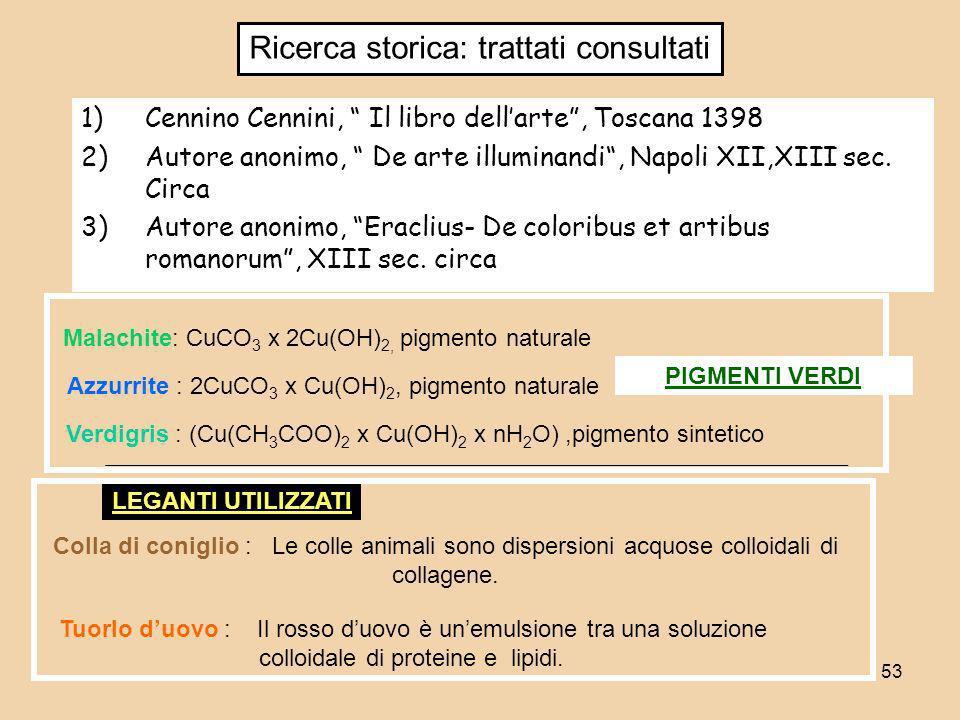 53 1)Cennino Cennini, Il libro dellarte, Toscana 1398 2)Autore anonimo, De arte illuminandi, Napoli XII,XIII sec. Circa 3)Autore anonimo, Eraclius- De