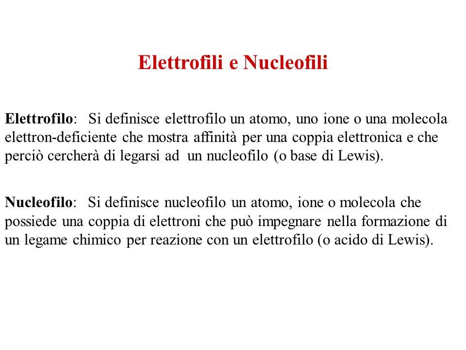 Elettrofili e Nucleofili Elettrofilo: Si definisce elettrofilo un atomo, uno ione o una molecola elettron-deficiente che mostra affinità per una coppi