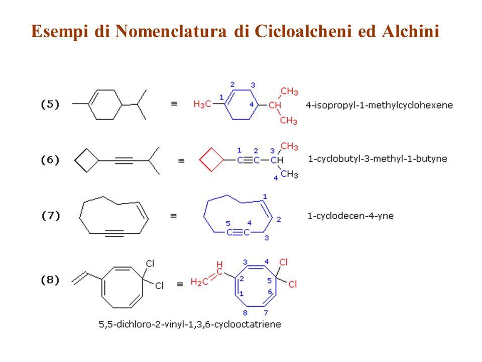 Esempi di Nomenclatura di Cicloalcheni ed Alchini