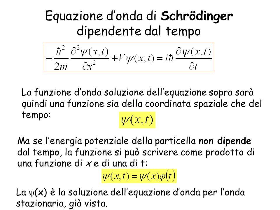 Equazione donda di Schrödinger dipendente dal tempo Ma se lenergia potenziale della particella non dipende dal tempo, la funzione si può scrivere come