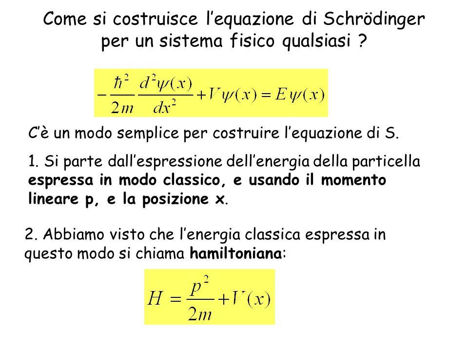 Come si costruisce lequazione di Schrödinger per un sistema fisico qualsiasi ? Cè un modo semplice per costruire lequazione di S. 1. Si parte dallespr