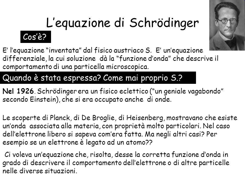 Equazione donda di Schrödinger dipendente dal tempo Ma se lenergia potenziale della particella non dipende dal tempo, la funzione si può scrivere come prodotto di una funzione di x e di una di t: La (x) è la soluzione dellequazione donda per londa stazionaria, già vista.