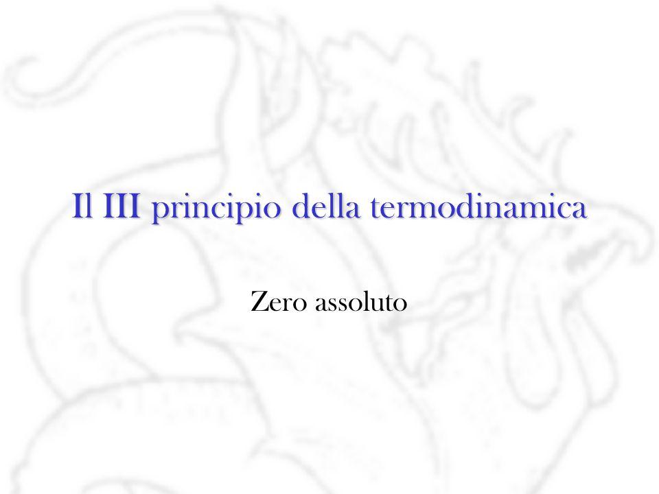 Il III principio della termodinamica Zero assoluto