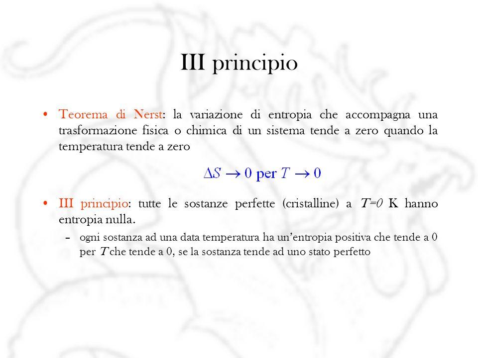 III principio Teorema di Nerst: la variazione di entropia che accompagna una trasformazione fisica o chimica di un sistema tende a zero quando la temperatura tende a zero III principio: tutte le sostanze perfette (cristalline) a T=0 K hanno entropia nulla.
