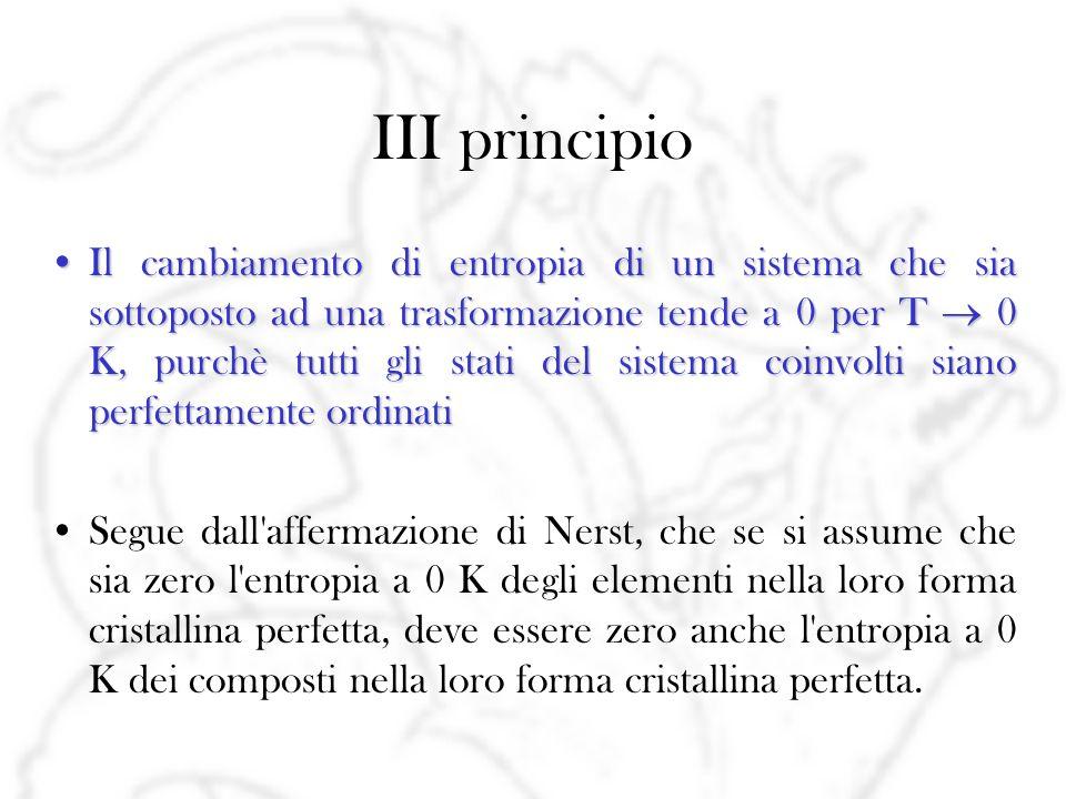 III principio L entropia di tutte le sostanze nel loro stato cristallino perfetto a 0 K vale 0 zero entropico convenzionaleIn realtà è più corretto identificare il terzo principio con lo stesso assioma di Nerst, e considerare la precedente affermazione come la definizione di uno zero entropico convenzionale.