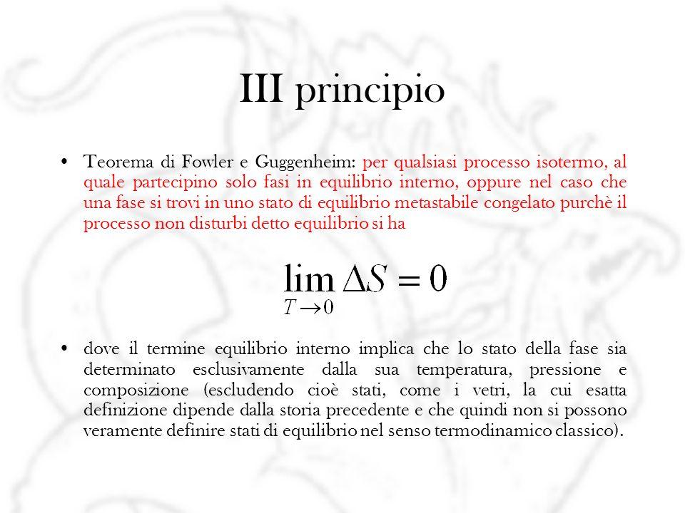 III principio Teorema di Fowler e Guggenheim: per qualsiasi processo isotermo, al quale partecipino solo fasi in equilibrio interno, oppure nel caso c