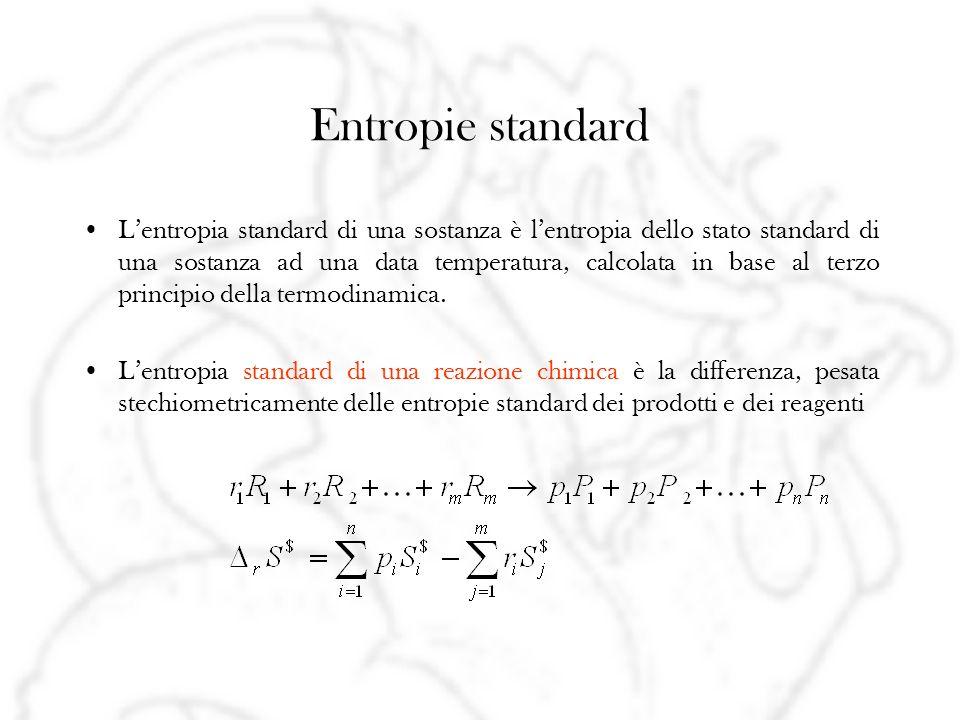 Entropie standard Lentropia standard di una sostanza è lentropia dello stato standard di una sostanza ad una data temperatura, calcolata in base al terzo principio della termodinamica.