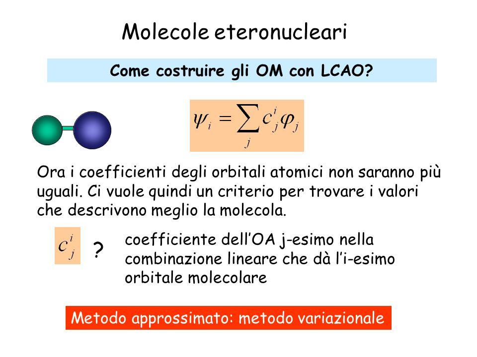 Molecole eteronucleari Come costruire gli OM con LCAO? coefficiente dellOA j-esimo nella combinazione lineare che dà li-esimo orbitale molecolare ? Me