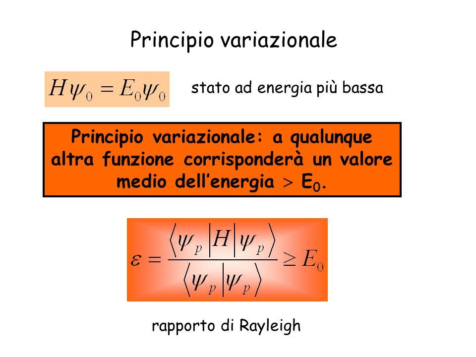 Principio variazionale stato ad energia più bassa Principio variazionale: a qualunque altra funzione corrisponderà un valore medio dellenergia E 0.