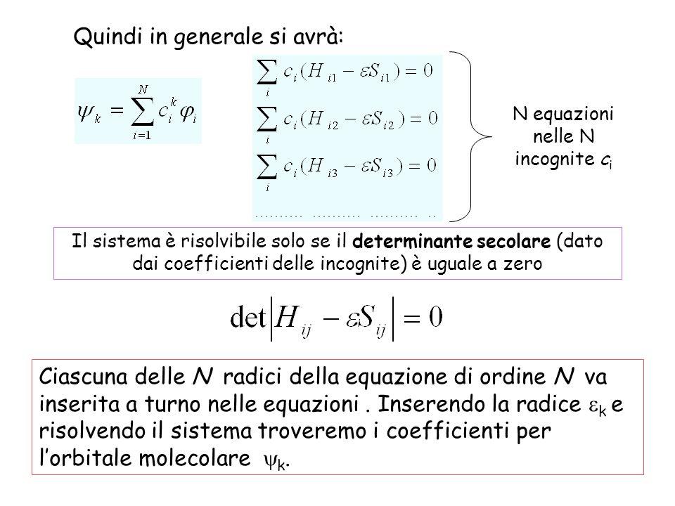 N equazioni nelle N incognite c i Il sistema è risolvibile solo se il determinante secolare (dato dai coefficienti delle incognite) è uguale a zero Quindi in generale si avrà: Ciascuna delle N radici della equazione di ordine N va inserita a turno nelle equazioni.