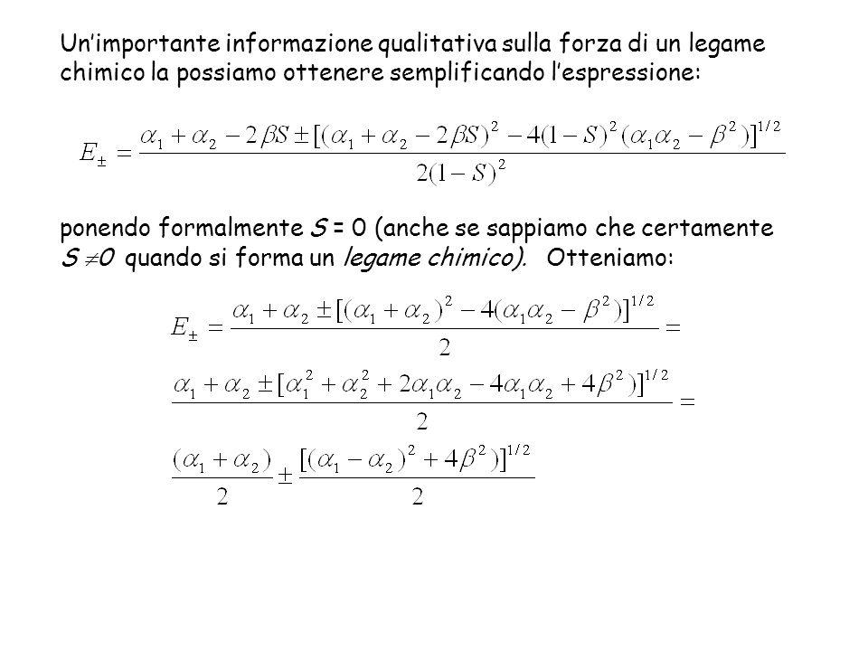 ponendo formalmente S = 0 (anche se sappiamo che certamente S 0 quando si forma un legame chimico).