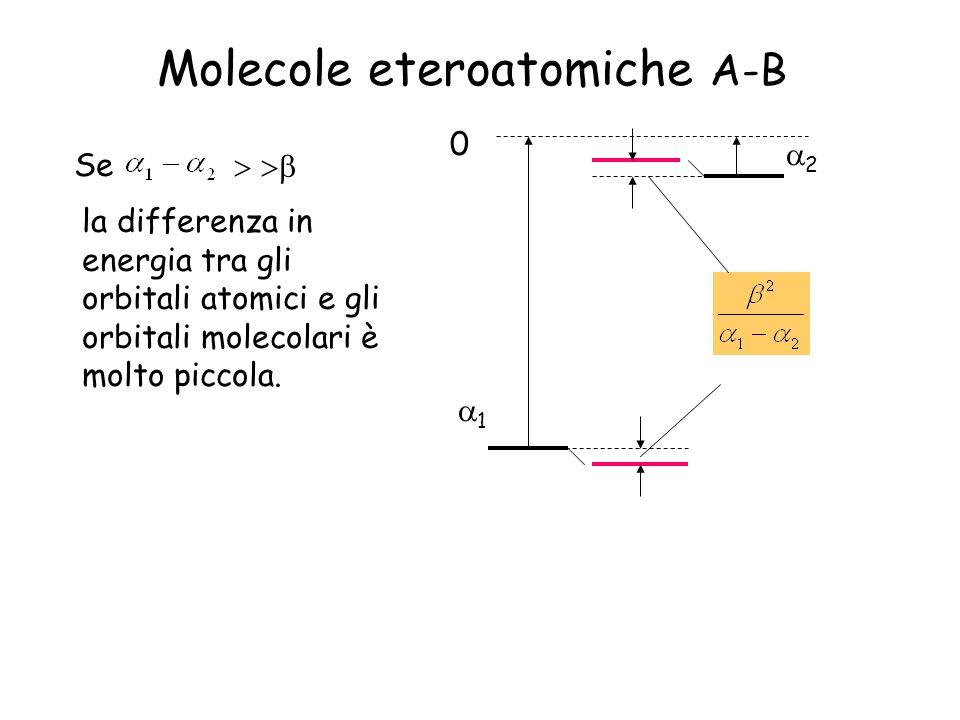 Molecole eteroatomiche A-B 0 1 2 Se la differenza in energia tra gli orbitali atomici e gli orbitali molecolari è molto piccola.