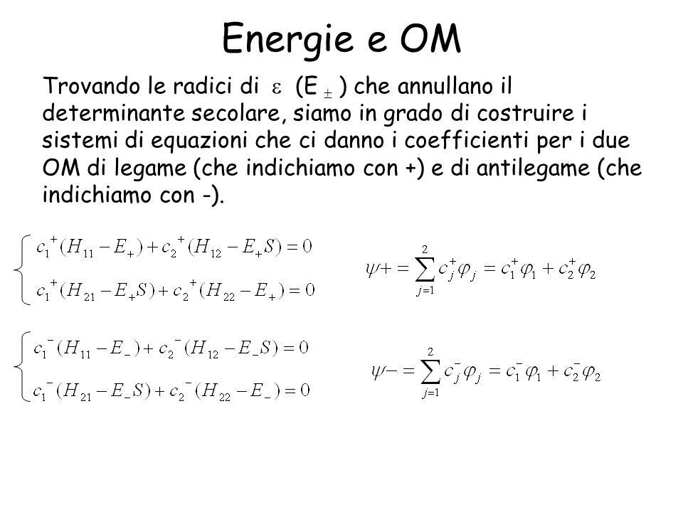 Energie e OM Trovando le radici di (E ) che annullano il determinante secolare, siamo in grado di costruire i sistemi di equazioni che ci danno i coefficienti per i due OM di legame (che indichiamo con +) e di antilegame (che indichiamo con -).