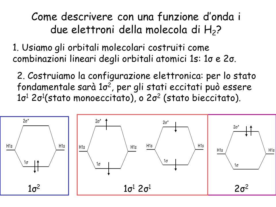 Come descrivere con una funzione donda i due elettroni della molecola di H 2 ? 1. Usiamo gli orbitali molecolari costruiti come combinazioni lineari d