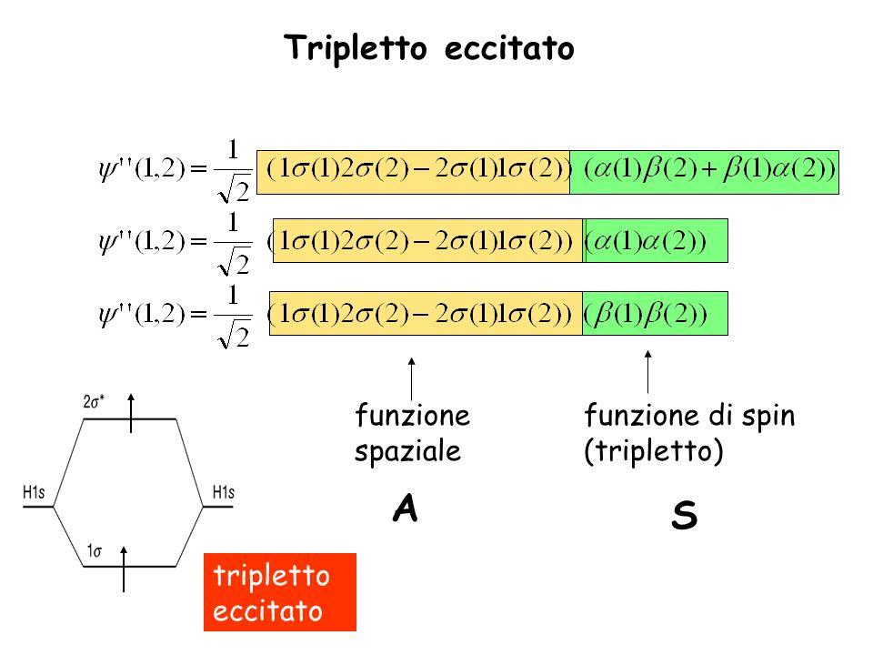 Tripletto eccitato funzione spaziale A funzione di spin (tripletto) S tripletto eccitato