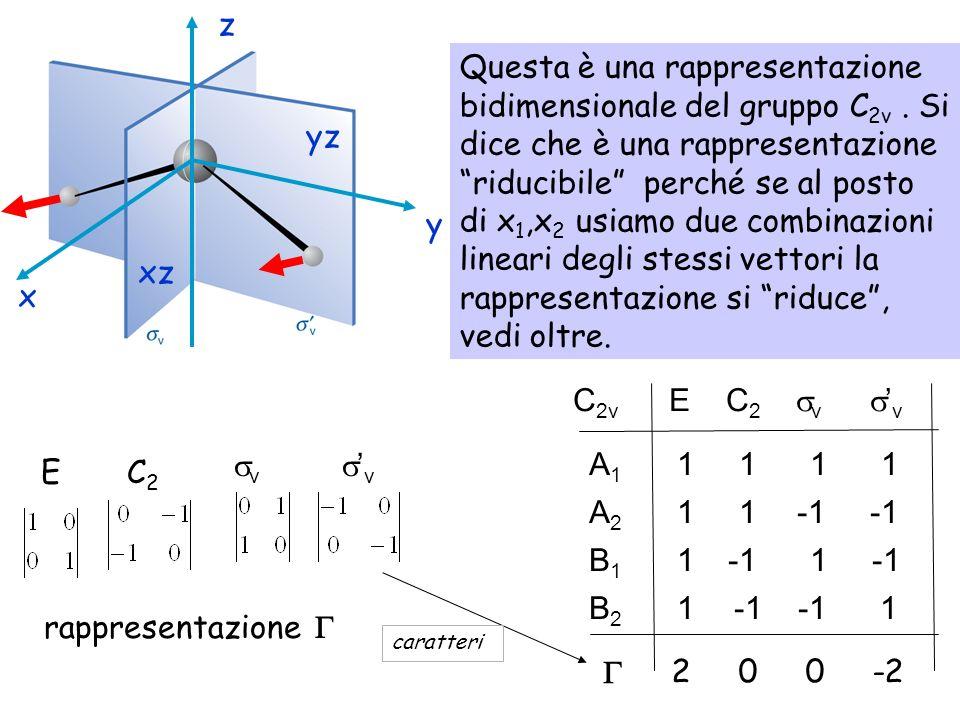 E C 2 v v Questa è una rappresentazione bidimensionale del gruppo C 2v. Si dice che è una rappresentazione riducibile perché se al posto di x 1,x 2 us