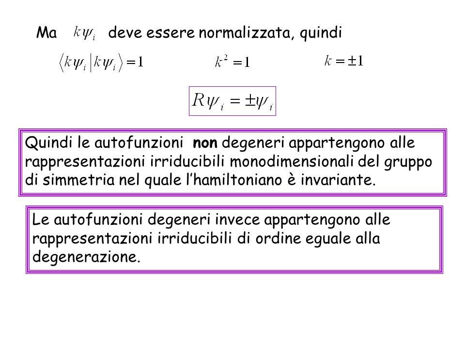 Ma deve essere normalizzata, quindi Quindi le autofunzioni non degeneri appartengono alle rappresentazioni irriducibili monodimensionali del gruppo di
