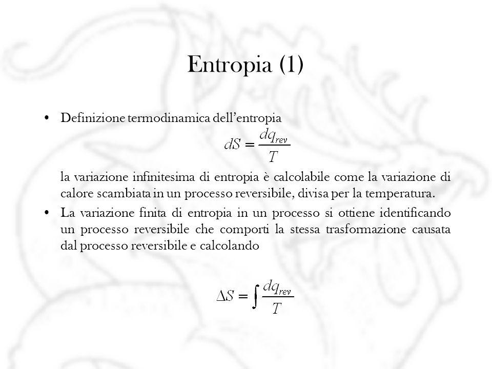 Entropia (1) Definizione termodinamica dellentropia la variazione infinitesima di entropia è calcolabile come la variazione di calore scambiata in un