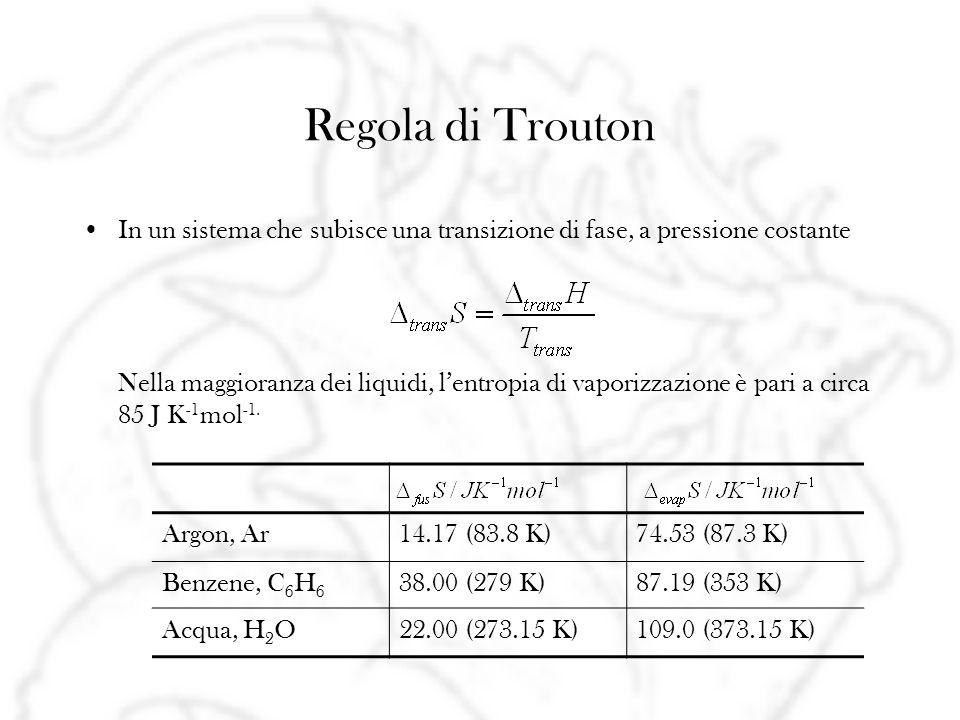 Regola di Trouton In un sistema che subisce una transizione di fase, a pressione costante Nella maggioranza dei liquidi, lentropia di vaporizzazione è