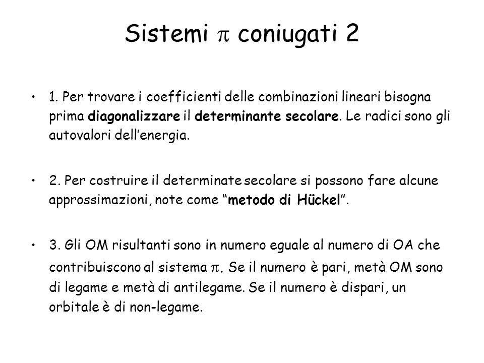 1. Per trovare i coefficienti delle combinazioni lineari bisogna prima diagonalizzare il determinante secolare. Le radici sono gli autovalori dellener