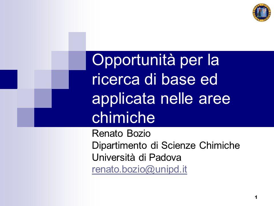 1 Opportunità per la ricerca di base ed applicata nelle aree chimiche Renato Bozio Dipartimento di Scienze Chimiche Università di Padova renato.bozio@
