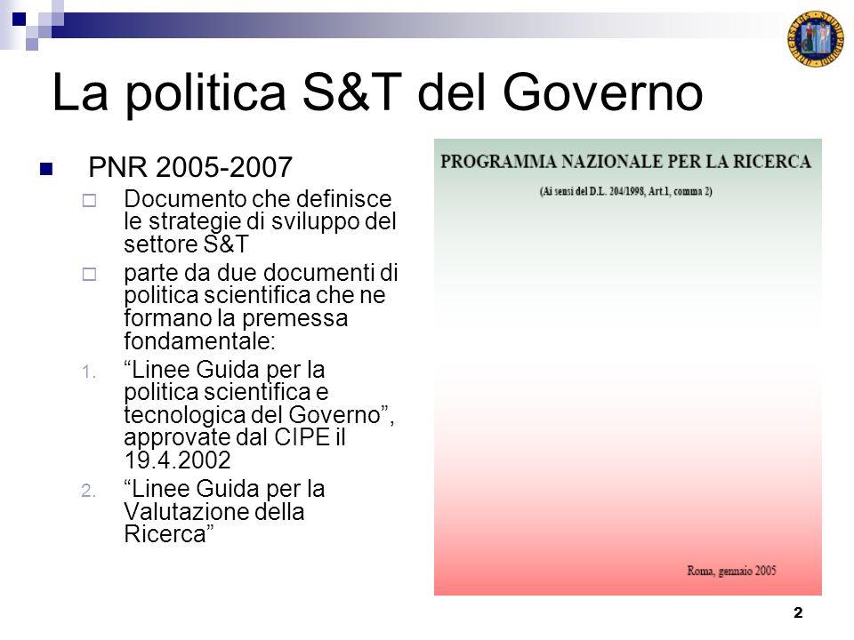 2 La politica S&T del Governo PNR 2005-2007 Documento che definisce le strategie di sviluppo del settore S&T parte da due documenti di politica scient