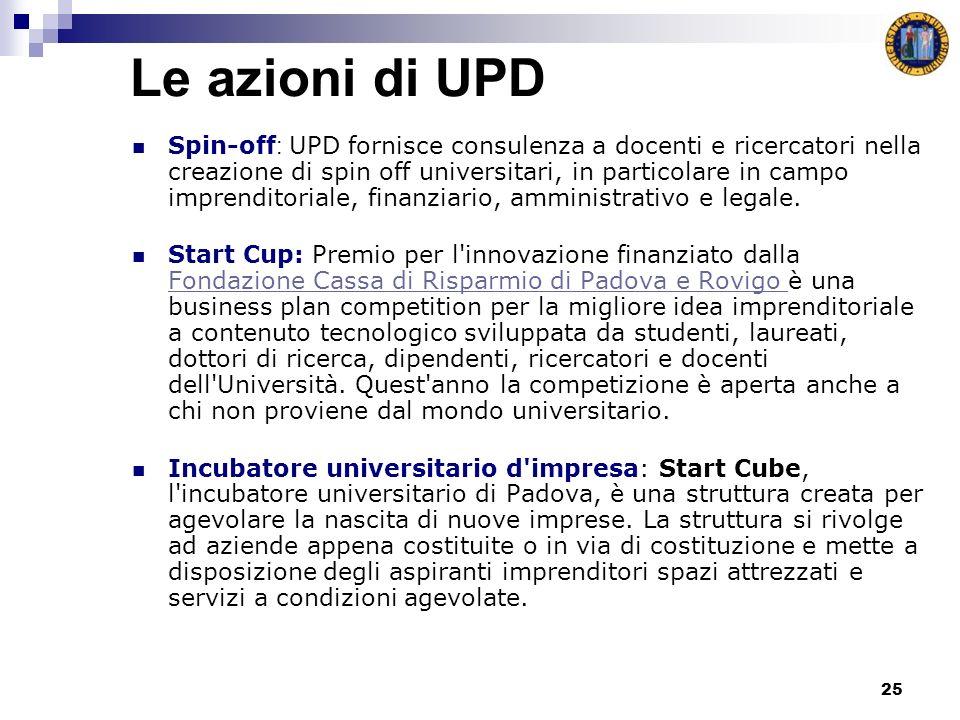 25 Le azioni di UPD Spin-off : UPD fornisce consulenza a docenti e ricercatori nella creazione di spin off universitari, in particolare in campo imprenditoriale, finanziario, amministrativo e legale.