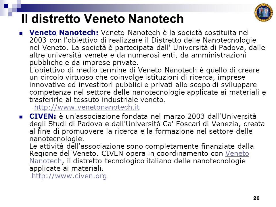 26 Il distretto Veneto Nanotech Veneto Nanotech: Veneto Nanotech è la società costituita nel 2003 con l obiettivo di realizzare il Distretto delle Nanotecnologie nel Veneto.
